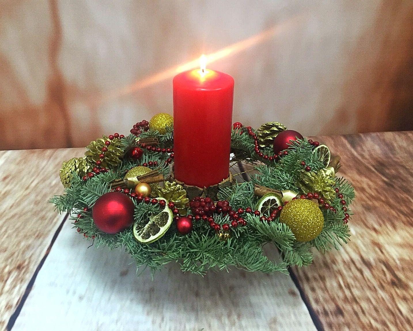 Новогодний венок для свечнаращивание